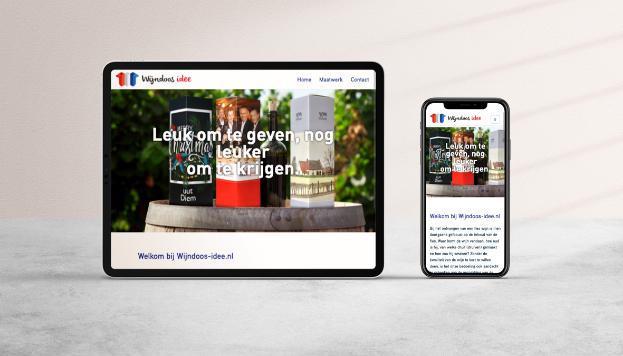 Website Wijndoos-Idee mobiel en tablet