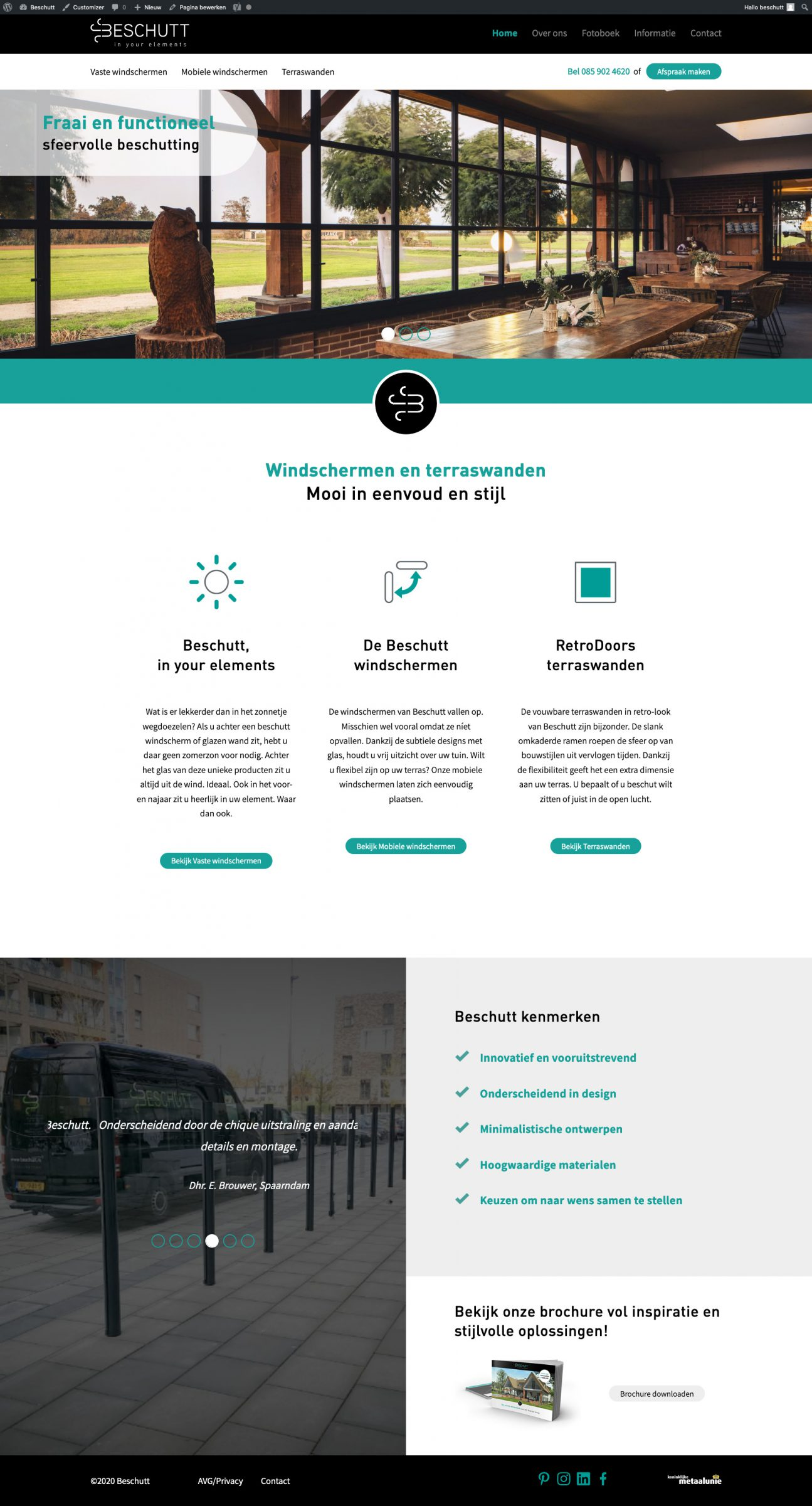 Homepage Beschutt website