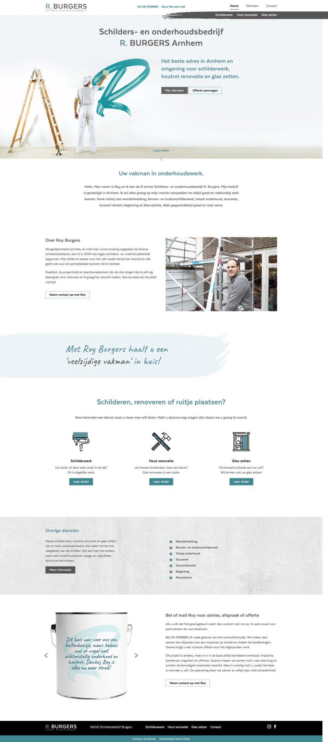Homepage schildersbedrijf Burgers